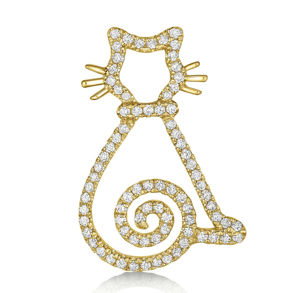 kosmos curly tail kitten yellow gold and diamond pendant