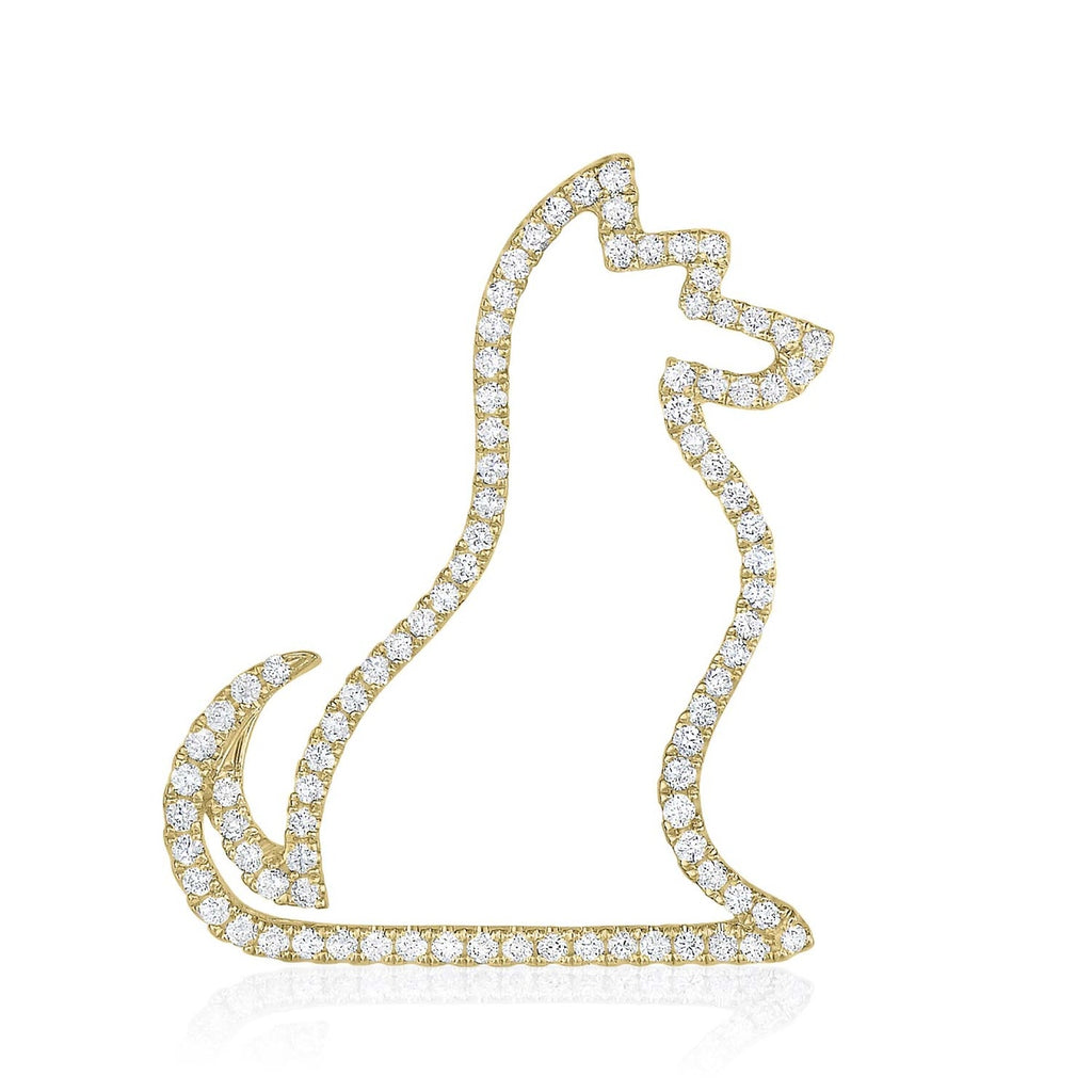 kosmos dog yellow gold and diamond pendant