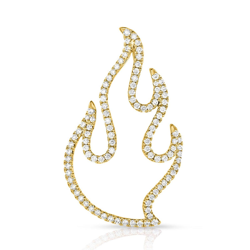 kosmos flame yellow gold and diamond pendant