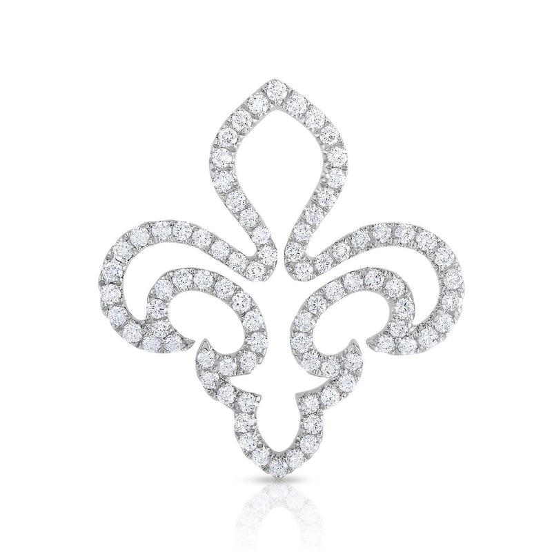 kosmos fleur de lis white gold and diamond pendant