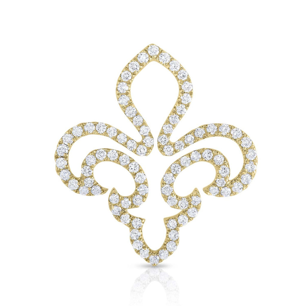 kosmos fleur de lis yellow gold and diamond pendant
