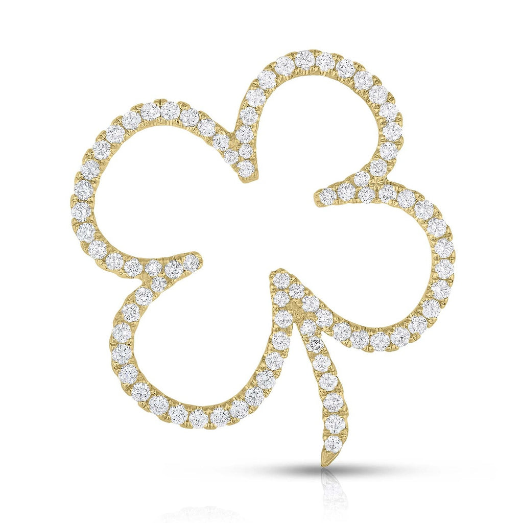 kosmos four leaf clover yellow gold and diamond pendant