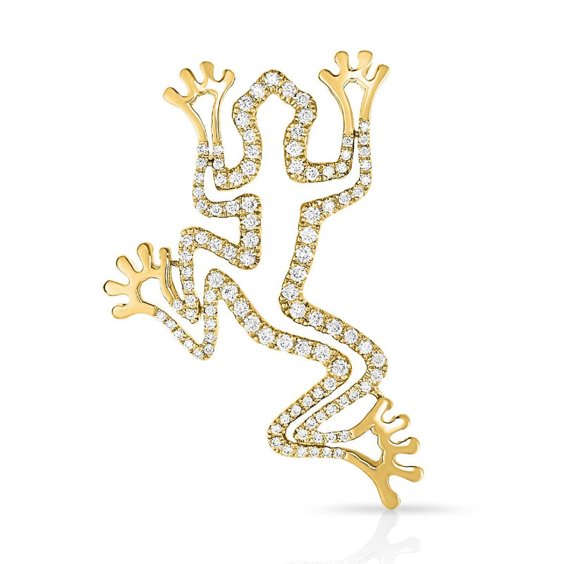 kosmos frog yellow gold and diamond pendant
