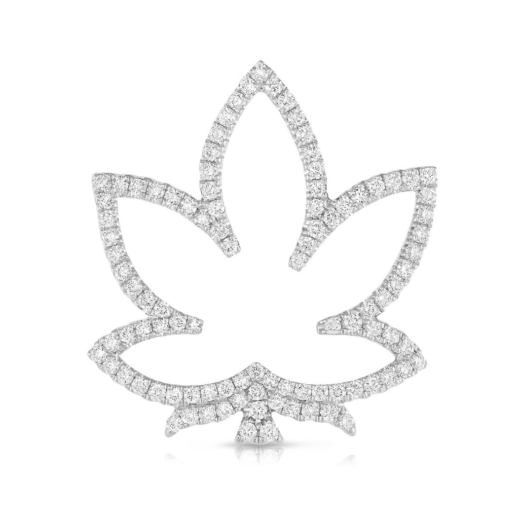 kosmos leaf white gold and diamond pendant