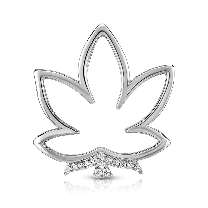 kosmos leaf sterling silver and diamond pendant