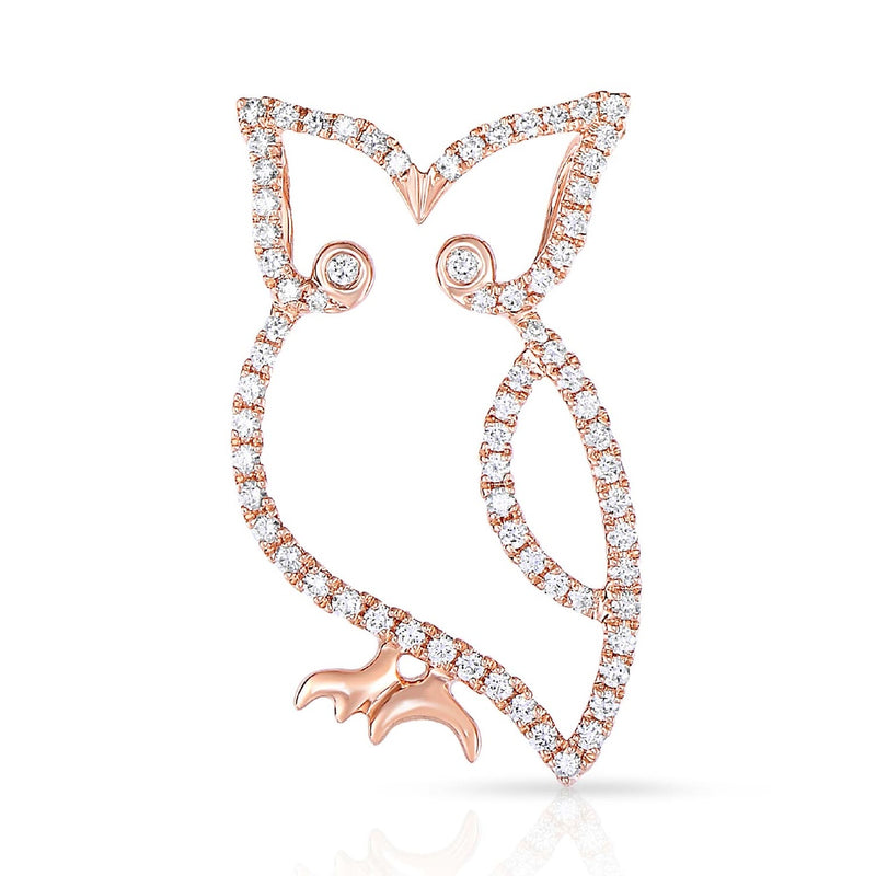 kosmos owl rose gold and diamond pendant