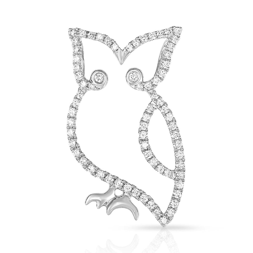 kosmos owl white gold and diamond pendant