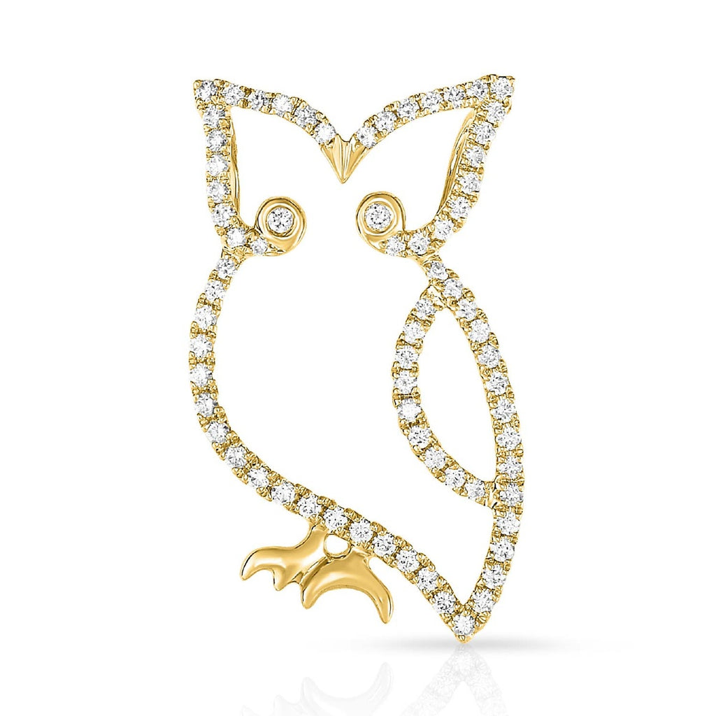 kosmos owl yellow gold and diamond pendant