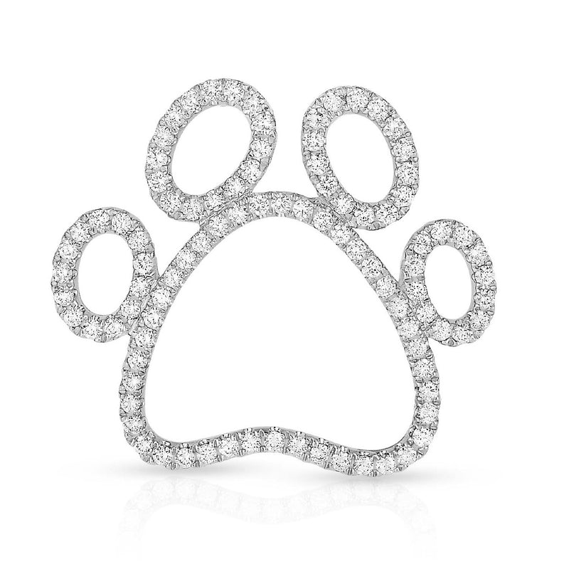 kosmos paw print white gold and diamond pendant