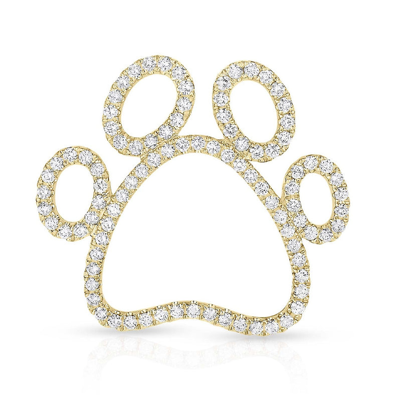 kosmos paw print yellow gold and diamond pendant