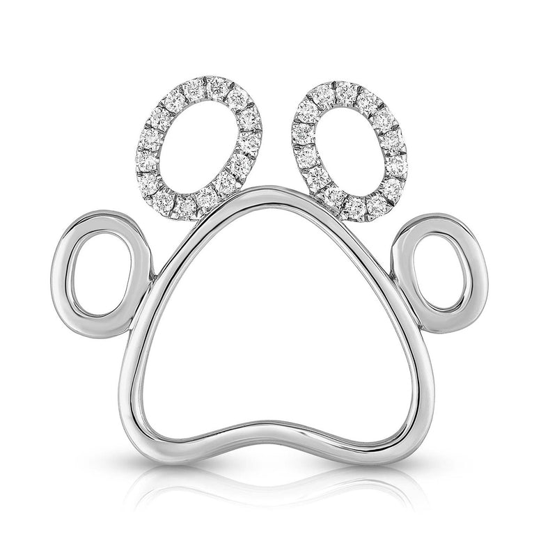 PAW PRINT - Silver | Diamond Accents