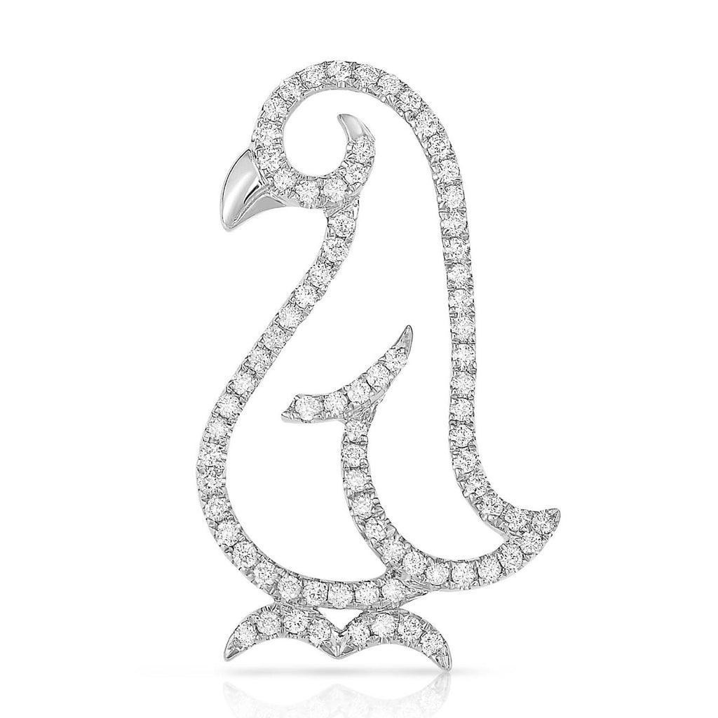 kosmos penguin white gold and diamond pendant