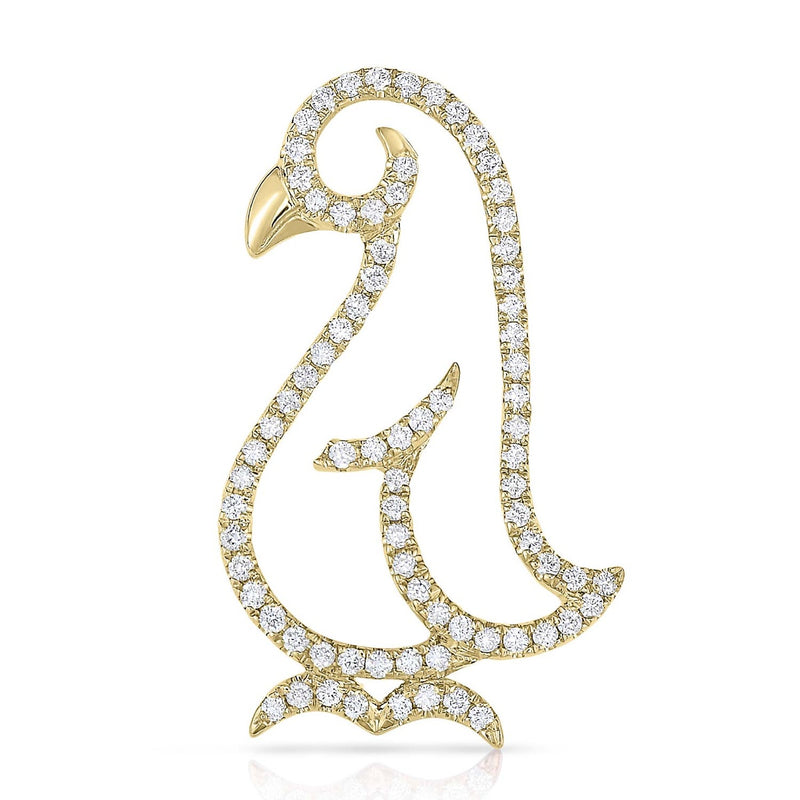 kosmos penguin yellow gold and diamond pendant