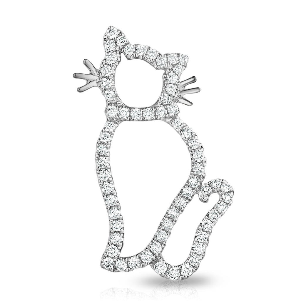 kosmos sassy cat white gold and diamond pendant