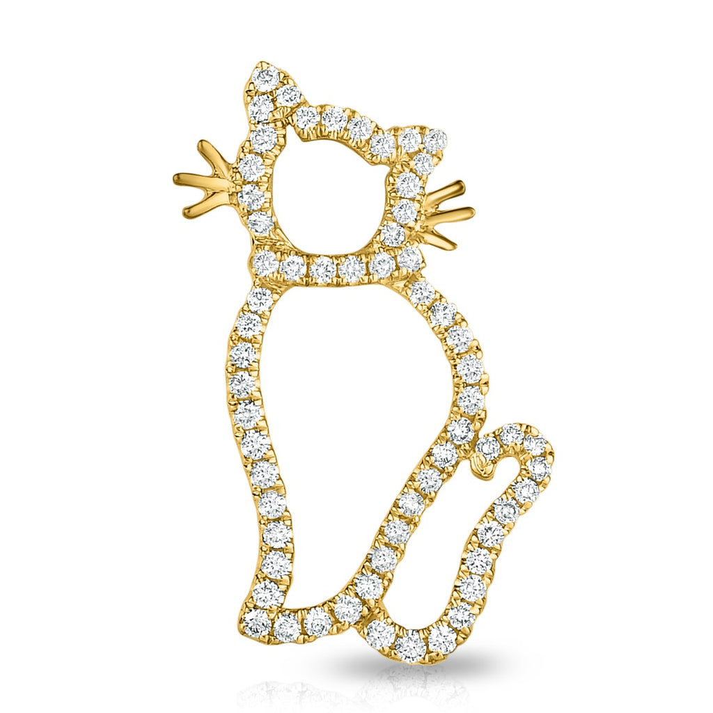 kosmos sassy cat yellow gold and diamond pendant