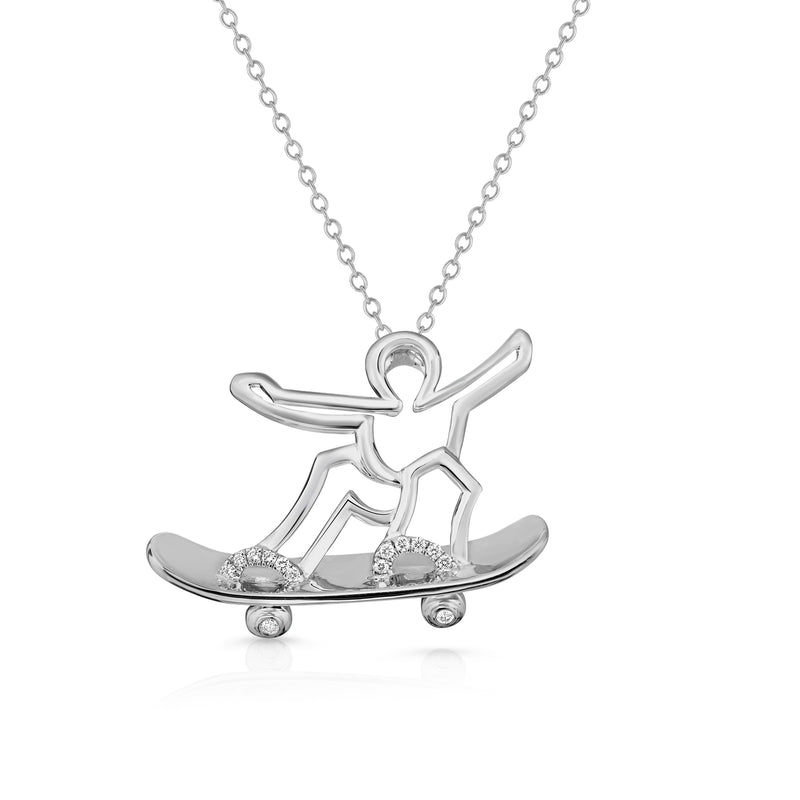 SKATEBOARDER - Silver | Diamond Accents