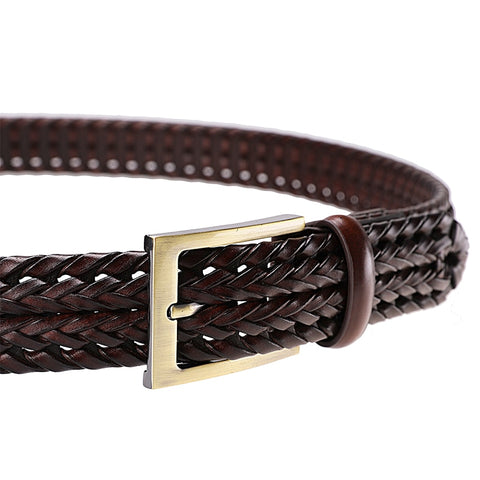 Men Genuine Leather Belt Pin Buckle Woven Knitted Belts For Men Quality Luxury Designer Handwoven Fashion Belt For Jeans