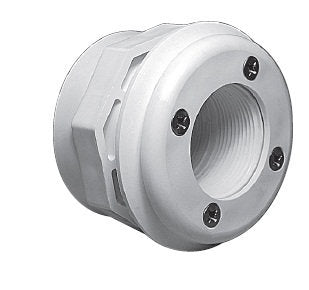Waterway Wall Fitting Assembly with Combo Spacer/Locknut 1.5 FPT x 1.5 Socket - White # 400-9060B