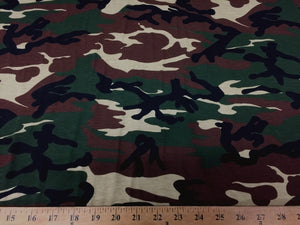 Camouflage Print Fabric Cotton Polyester Broadcloth Camo By The Yard 60 inches Wide Camouflage