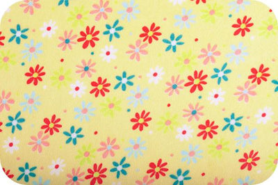Misc Minky Cuddle Prints YELLOW CORAL RETRO DAISY