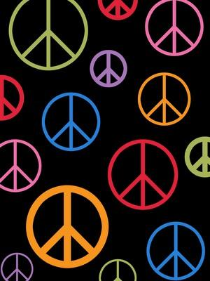 Anti-Pill Rainbow Peace On Black Fleece 185