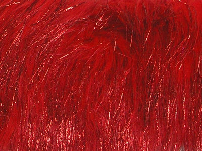 Long Pile METALLIC SHAGGY fur RED