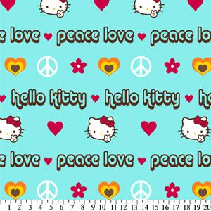 Anti-Pill Hello Kitty Peace Aqua Fleece 209