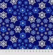 Anti-Pill Geometric Snowflakes Navy Fleece 232