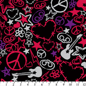 Premium Anti-Pill Skelanimals Scribbles Fleece 234