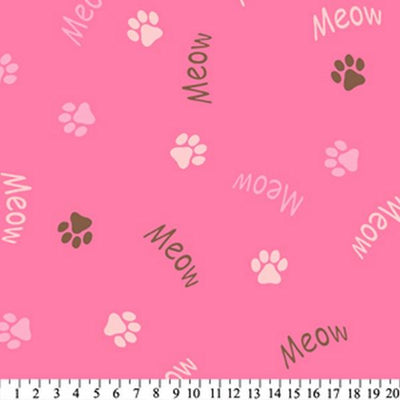 Anti-Pill Meow Paws Pink Brown Fleece 268