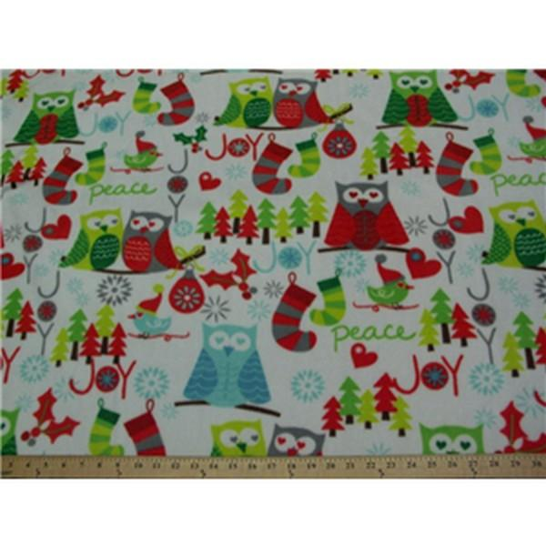Premium Anti-Pill Christmas Owls On White Fleece 307
