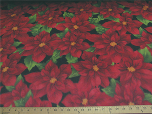 Premium Anti-Pill Poinsettia On Black Fleece 308