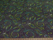 Premium Anti-Pill Paisley Lime On Gray Fleece 316