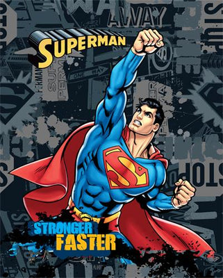 Anti-Pill Superman Stronger Faster Fleece Panel 325