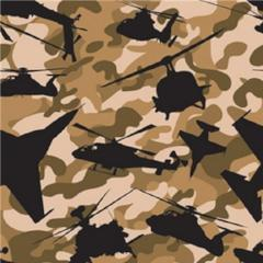 Anti-Pill Air Force Camo Brown Camel Fleece 344