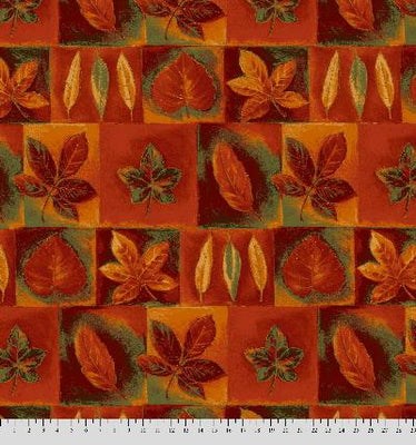 Anti-Pill Leaf Patchwork Orange Rust Olive Fleece 457