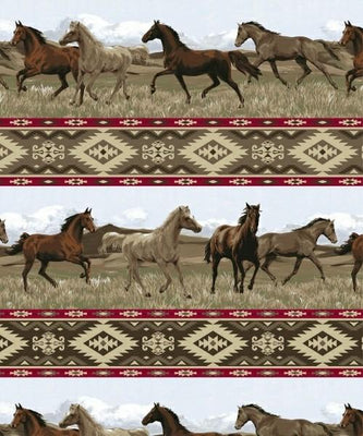 Anti-Pill Aztec Rider Horse Fleece 485
