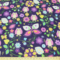 Premium Anti-Pill Owls On Purple Fleece 51