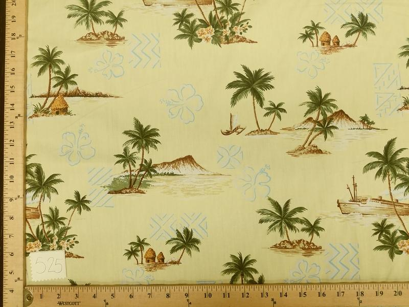 Pale Yellow Hibiscus Hawaiian Palms Floral Cotton HP-525