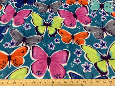 Anti Pill Butterfly Teal Fleece 559