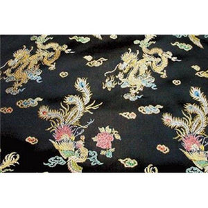 Chinese Satin Dragon/Phoenix Brocade Black