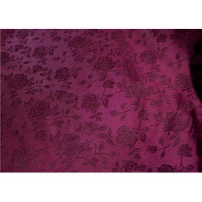 Floral Satin Brocade Burgundy
