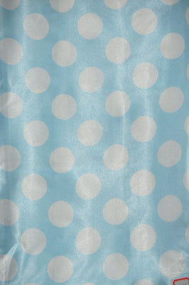 Polka Dot Charmeuse Satin BABY BLUE WHITE SP-108