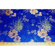 Chinese Satin Floral Brocade Royal Blue