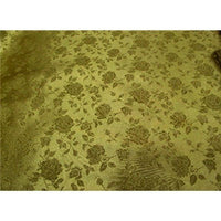 Floral Satin Brocade Dark Gold