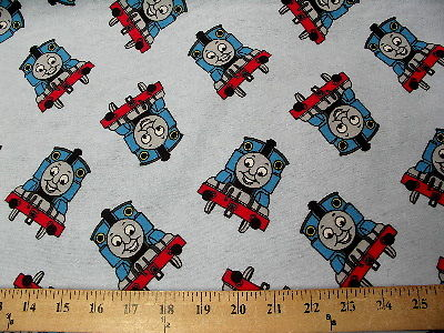 Light Blue Thomas Train Flannel