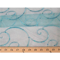 Embroidered Swirl Sequins Organza TURQUOISE EM-20