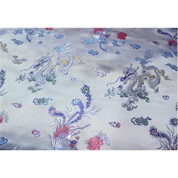 Chinese Satin Dragon/Phoenix Brocade White