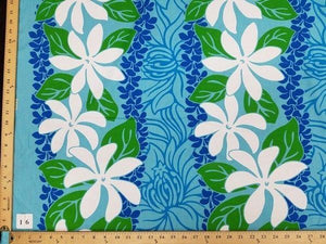 "TURQUOISE FLORAL HP-16 ""LAST PIECE MEASURES 1 YARD 30 INCHES"""