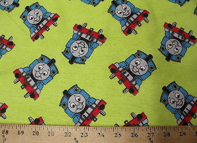 Lime Thomas Train Flannel